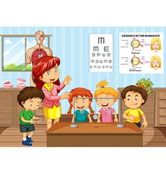 Science teacher and students in classroom vector image vector image