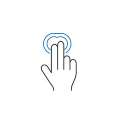 2 finger double tap line icon hand gestures vector