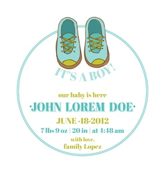 Baby Shower and Arrival Card - Baby Shoes Theme vector image