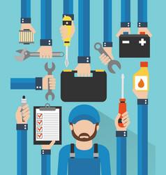 car serviceman repairing equipment modern design vector image vector image