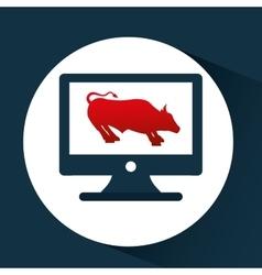 exchange market bull icon design vector image