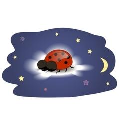 Ladybug sleeping on a cloud vector image vector image