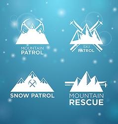 logotype ski mounrain and snow patrol with vector image