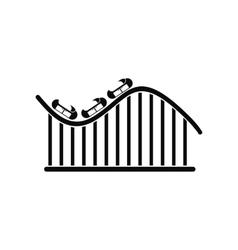 Roller coaster black simple icon vector