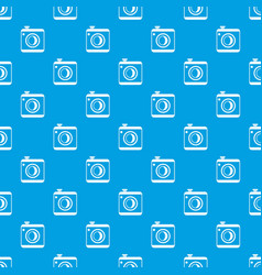 vintage photo camera pattern seamless blue vector image