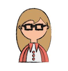 geek woman cartoon vector image