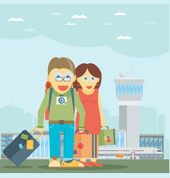 man and woman traveling together vector image