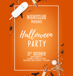 orange halloween party poster with treats vector image vector image