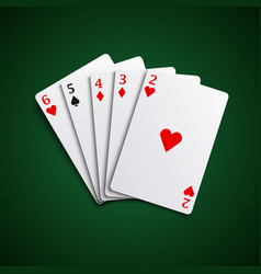 poker hand cards straight combination template vec vector image vector image