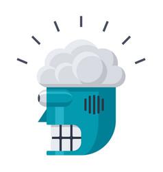 robot head with brain icon vector image vector image