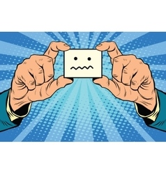 silence Smiley face in hands vector image vector image