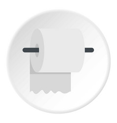 White roll of toilet paper on a holder icon circle vector