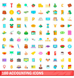 100 accounting icons set cartoon style vector image