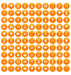 100 forest icons set orange vector image