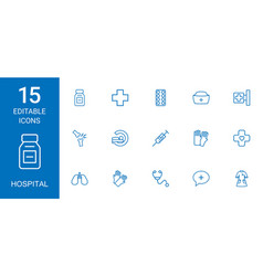 15 hospital icons vector