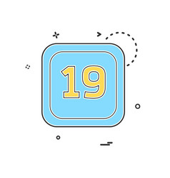 19 date calender icon design vector image