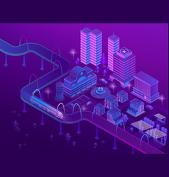 3d isometric train on bridge megapolis vector image