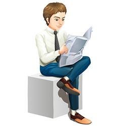 A man reading a newspaper vector