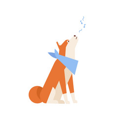 Adorable akita inu howling or singing song vector