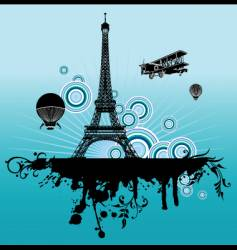 airplane above paris vector image