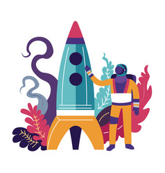 astronaut man standing by rocket and waving vector image