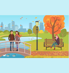 Autumn park with pond couple and woman on bench vector