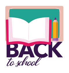 back to school book with pencil and blackboard vector image