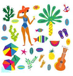 Beach icons set funny bright design graphic vector