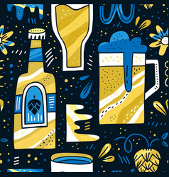 beer handrawn pattern vector image