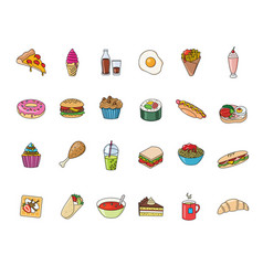 Big set food and beverages icons vector