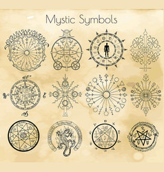 Big set with mystic symbols vector