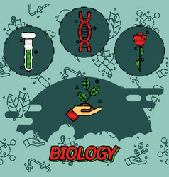 biology flat concept icons vector image