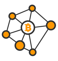 Bitcoin net nodes flat icon vector