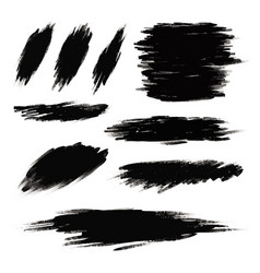 black paint brush stroke on white background vector image