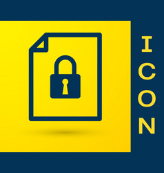 Blue document and lock icon isolated on yellow vector