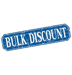 Bulk discount blue square vintage grunge isolated vector