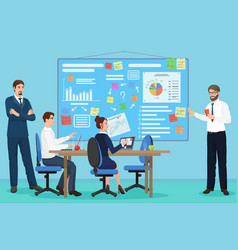 Business people group presentation finance vector