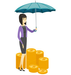 Business woman insurance agent with umbrella vector