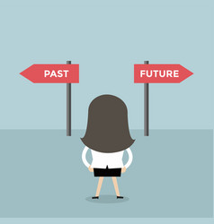 Businesswoman decision about past and future way vector