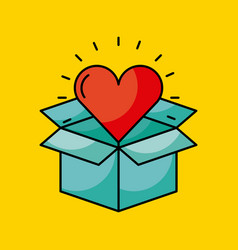 cardboard box with heart cartoon coming out vector image