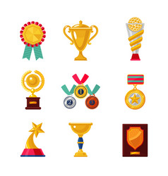 cartoon awards set trophy icons collection vector image