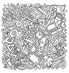 cartoon doodles art and design vector image