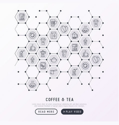 Coffee and tea concept in honeycombs vector