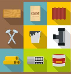Construction market icons set flat style vector