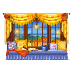 Cozy interior home window evening view from vector