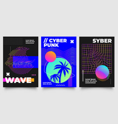 cyberpunk poster futuristic background vector image