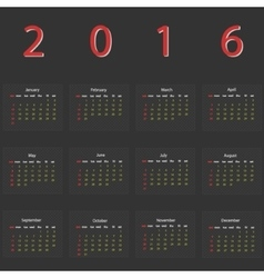 Dark calendar 2016 vector