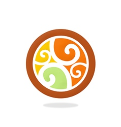 decorative round swirl design element vector image