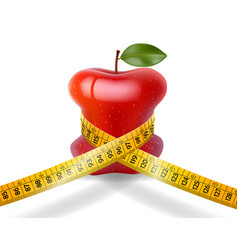 Dieting concept red apple with measuring tape on w vector
