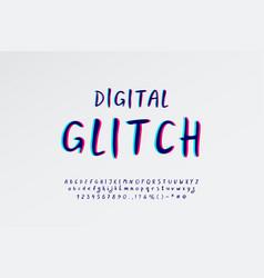 Digital glitch alphabet script hand drawn vector